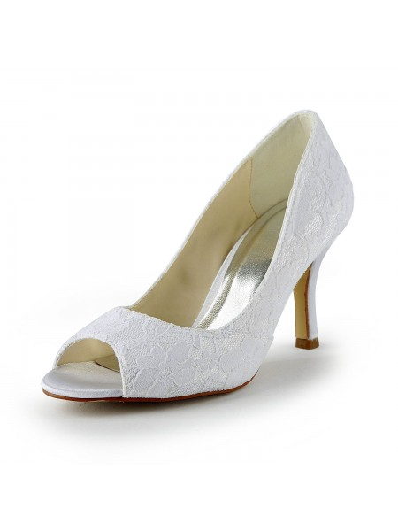The Most Trendy Women's Lace Satin Stiletto Heel Peep Toe Sandals White Wedding Shoes