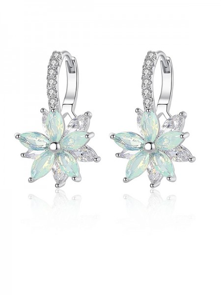 Fashion Crystal With Flowers Ladies's Earrings