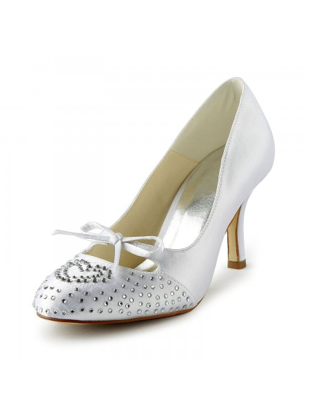 Fashion Trends Women's Lovely Satin Stiletto Heel Closed Toe With Rhinestone White Wedding Shoes