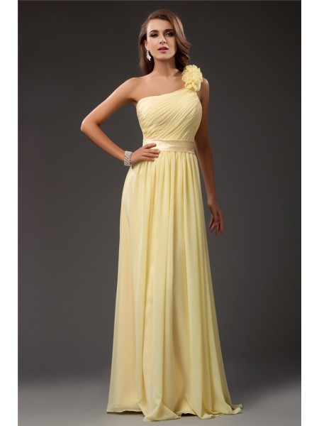 Fashion Sheath/Column Shoulder Ruffles One Long Sleeveless Chiffon Dresses