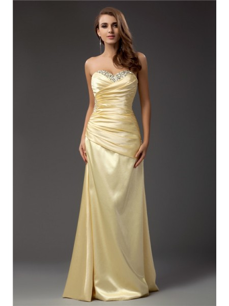 Stylish Sheath/Column Sleeveless Long Sweetheart Taffeta Dresses