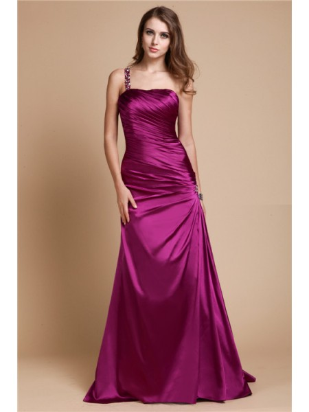 Fashion A-Line/Princess Shoulder Sleeveless One Beading Long Elastic Woven Satin