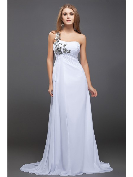 Fashion A-Line/Princess Sequin Lace One-Shoulder Sleeveless Long Chiffon Dresses