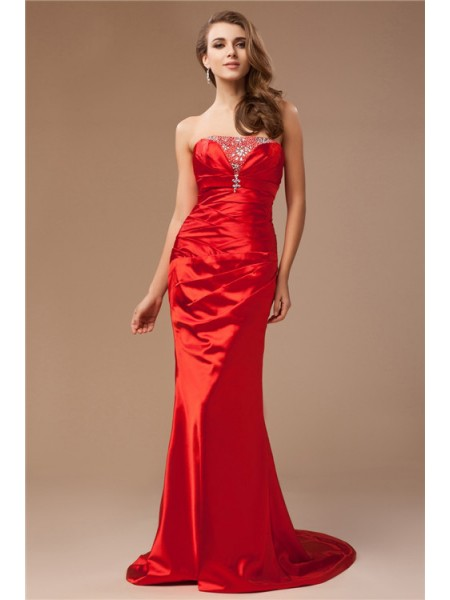 Fashion Trumpet/Mermaid Beading Long Strapless Sleeveless Taffeta Dresses