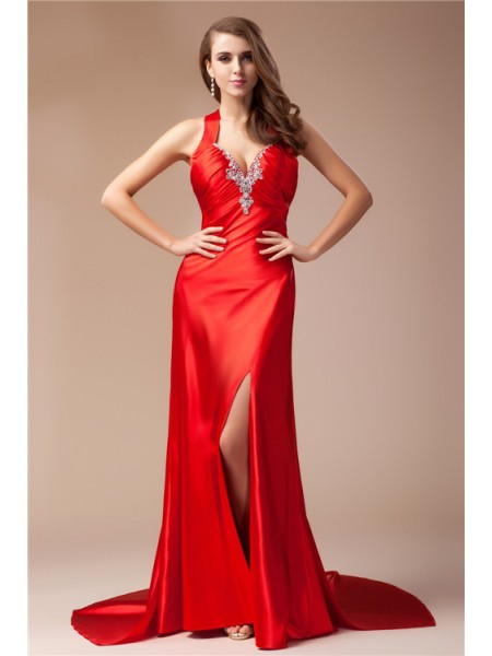 Stylish Sheath/Column Sleeveless Long V-neck Elastic Woven Satin Dresses