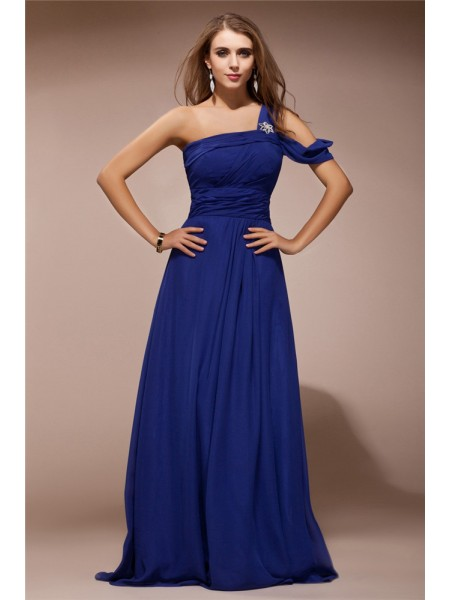 Fashion Sheath/Column Shoulder Ruffles One Rhinestone Sleeveless Long Chiffon Dresses