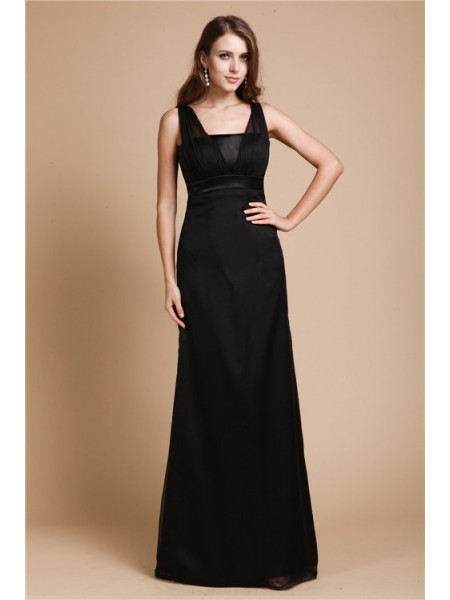 Fashion Sheath/Column Sleeveless Long Belt Chiffon Dresses