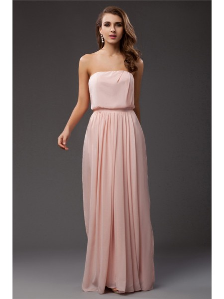 Fashion Sheath/Column Sleeveless Long Strapless Ruffles Chiffon Dresses