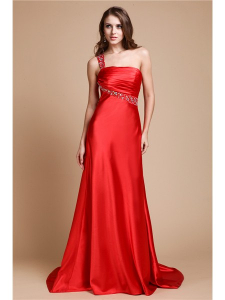 Fashion A-Line/Princess Shoulder Beading One Sleeveless Long Elastic Woven Satin