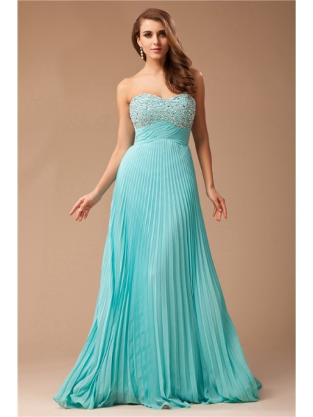 Stylish Empire Long Chiffon Sweetheart Beading Sleeveless Dresses