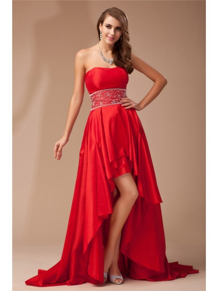Stylish A-Line/Princess High Low Strapless Beading Sleeveless Taffeta Dresses