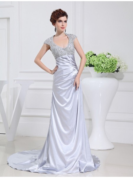 Fashion A-Line/Princess Long Beading Scoop Lace Elastic Woven Satin Dresses