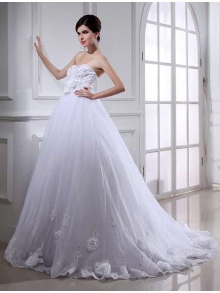 Fashion Ball Gown Hand-made Flower Beading Strapless Sleeveless Long Organza Wedding Dresses