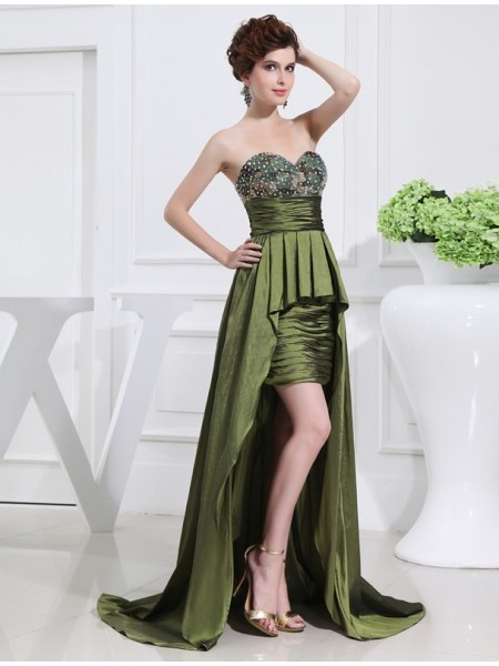 Stylish A-Line/Princess Sweetheart Sleeveless Beading High Low Taffeta Dresses
