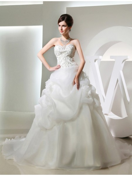 Fashion Ball Gown Hand-made Flower Beading Sleeveless Long Organza Wedding Dresses