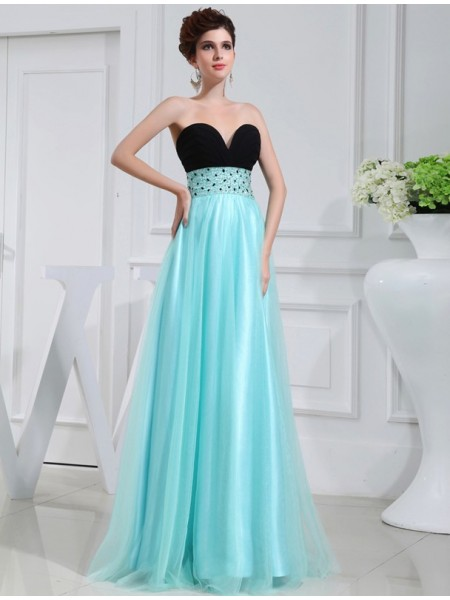 Stylish A-Line/Princess Sweetheart Sleeveless Beading Elastic Woven Satin Dresses