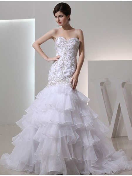Fashion Trumpet/Mermaid Sweetheart Sleeveless Beading Organza Embroidery Wedding Dresses