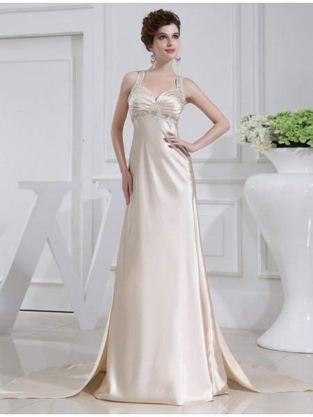 Stylish A-Line/Princess Sleeveless Elastic Beading Woven Satin Dresses