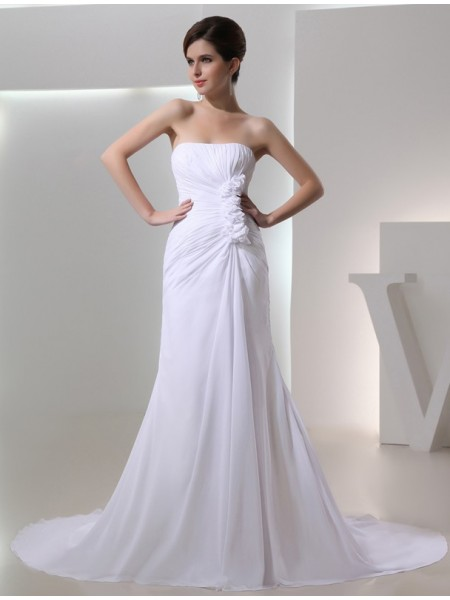 Stylish A-Line/Princess Strapless Sleeveless Beading Pleated Chiffon Wedding Dresses