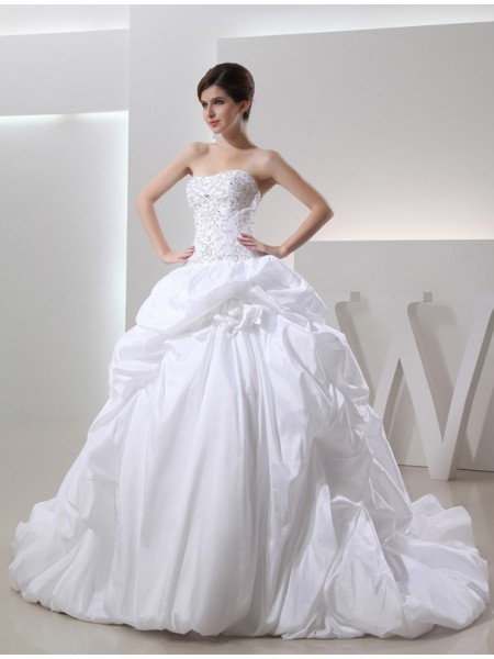 Stylish Ball Gown Sleeveless Long Beading Taffeta Wedding Dresses