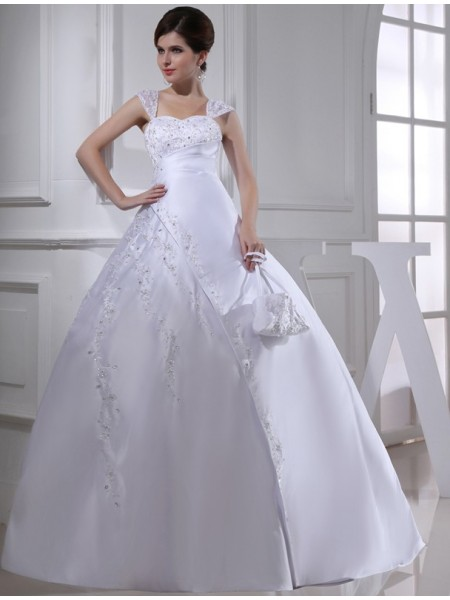 Fashion Ball Gown Sleeveless Straps Beading Long Satin Wedding Dresses
