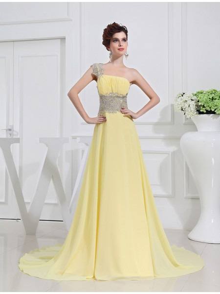 Fashion A-Line/Princess Beading Appliques One-shoulder Chiffon Dresses
