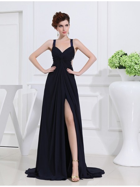 Stylish A-Line/Princess V-neck Sleeveless Beading Long Chiffon Dresses