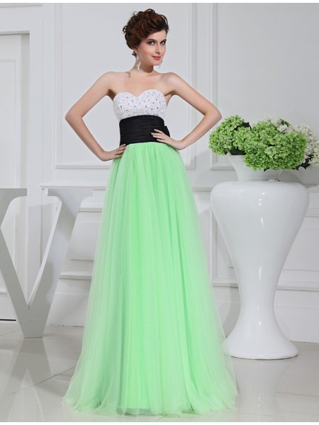 Stylish A-Line/Princess Sleeveless Satin Beading Tulle Long Dresses