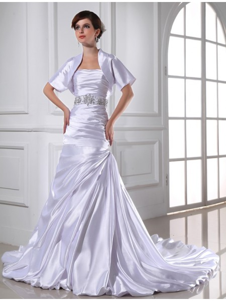 Fashion Trumpet/Mermaid Strapless Sleeveless Beading Applique Elastic Woven Satin Wedding Dresses