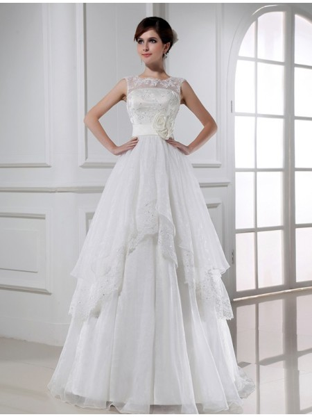 Stylish A-Line/Princess Sleeveless Long Beading Lace Organza Wedding Dresses