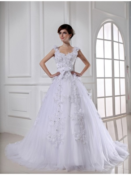 Fashion Ball Gown Long Satin Beading Tulle Strapless Sleeveless Wedding Dresses