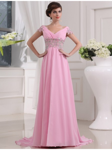 Fashion A-Line/Princess Long Short Sleeves V-neck Beading Chiffon Dresses