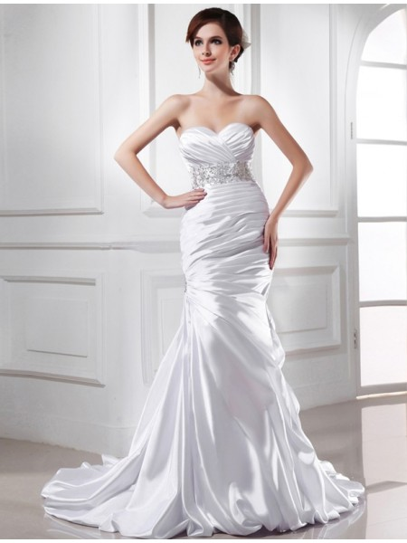 Fashion Trumpet/Mermaid Sweetheart Sleeveless Beading Elastic Woven Satin Wedding Dresses