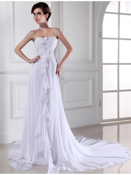 Stylish Sheath/Column Flower Sweetheart Hand-made Sleeveless Chiffon Long Wedding Dresses