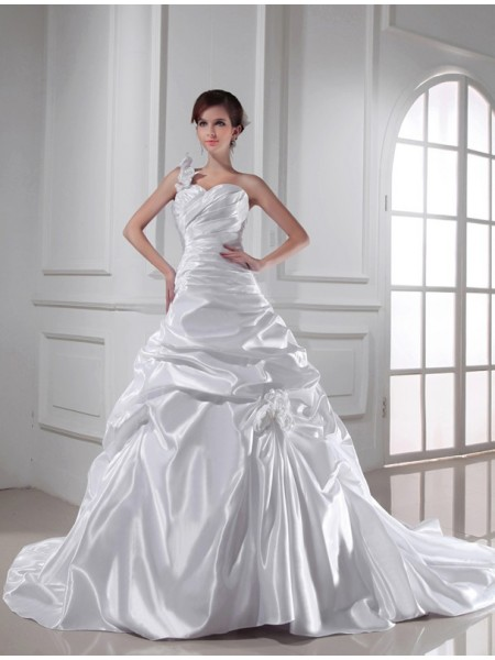 Fashion A-Line/Princess Sweetheart Sleeveless One-shoulder Long Pleats Elastic Woven Satin