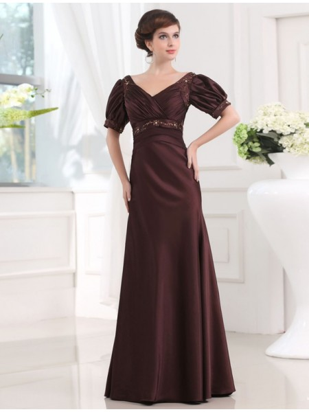 Stylish Sheath/Column V-neck 1/2 Sleeves Beading Long Satin Dresses