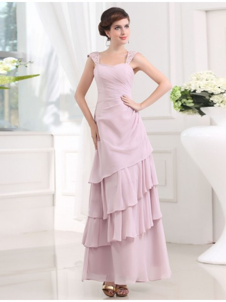 Fashion A-Line/Princess Sleeveless Straps Beading Layered Chiffon Long Dresses