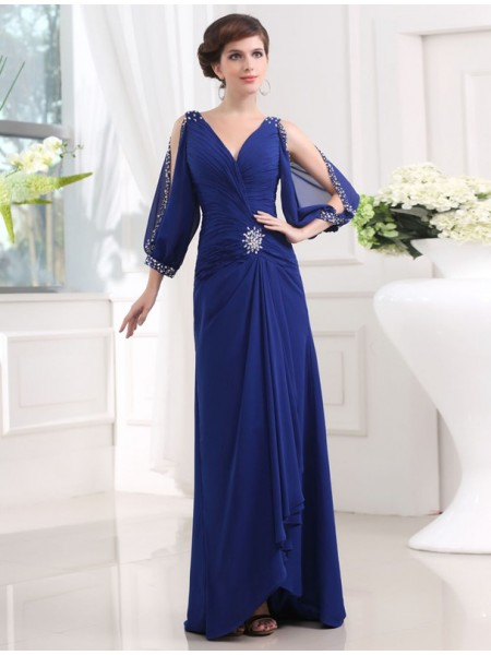 Fashion Sheath/Column 3/4 Sleeves V-neck Beading Long Chiffon Dresses