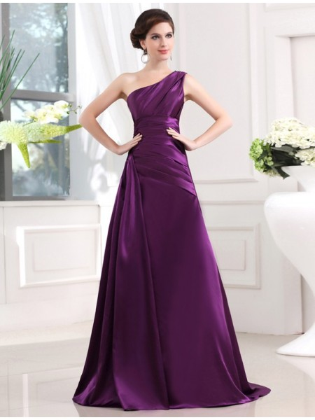 Fashion A-Line/Princess Sleeveless Elastic One-shoulder Woven Satin Pleats Long Dresses