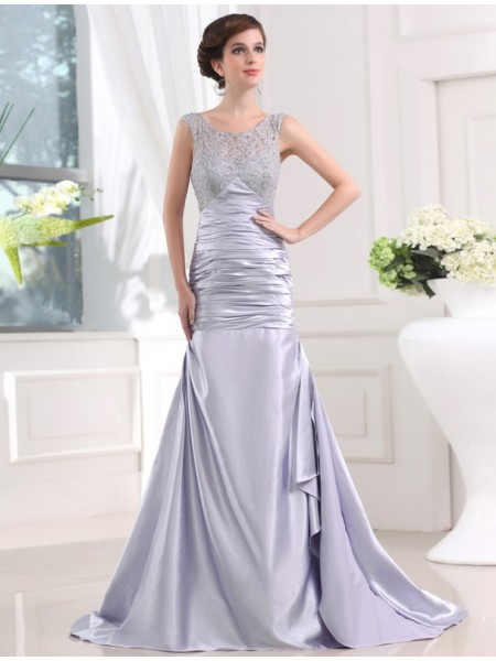 Stylish Trumpet/Mermaid Sleeveless Elastic Beading Woven Satin Long Dresses