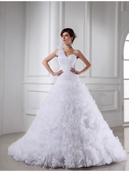 Fashion Ball Gown One-shoulder Sweetheart Beading Sleeveless Long Organza Wedding Dresses