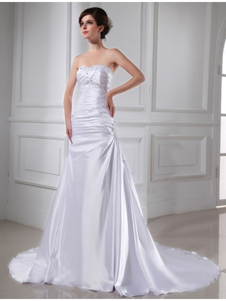 Stylish A-Line/Princess Applique Sleeveless Beading Elastic Woven Satin Wedding Dresses