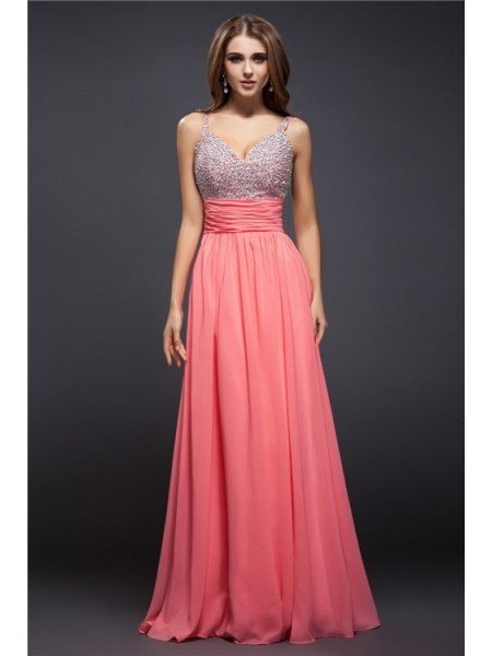 Stylish Sheath/Column Straps Beading Spaghetti Sleeveless Long Chiffon Dresses