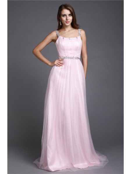 Fashion A-Line/Princess Straps Rhinestone Spaghetti Sleeveless Long Net Dresses