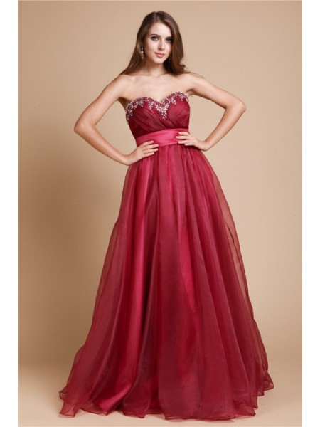 Stylish A-Line/Princess Sleeveless Long Sweetheart Organza Dresses