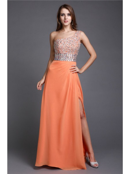 Stylish Sheath/Column Shoulder Long One Beading Sleeveless Chiffon Dresses