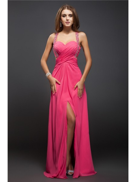 Fashion Sheath/Column Ruffles Sleeveless Straps Long Chiffon Dresses