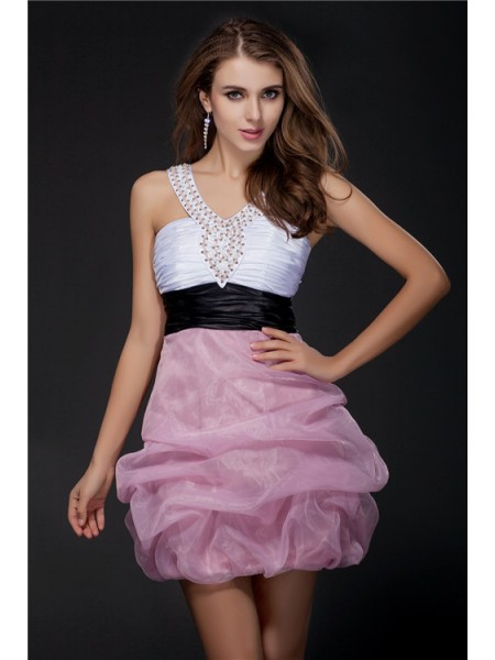 Fashion Ball Gown Sleeveless Short V-neck Beading Sash Organza Elastic Woven