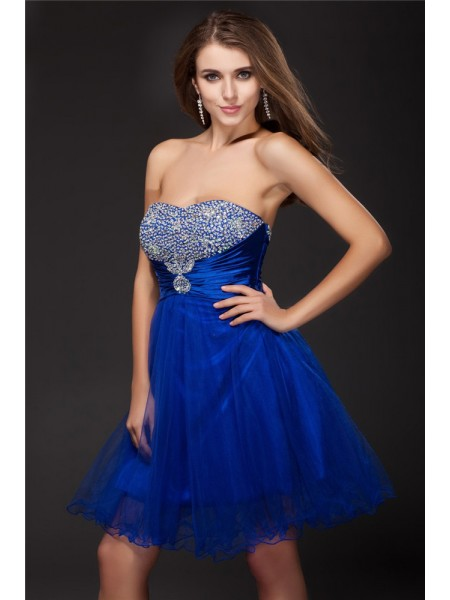 Stylish A-Line/Princess Beading Sleeveless Strapless Short Net Elastic Woven Satin