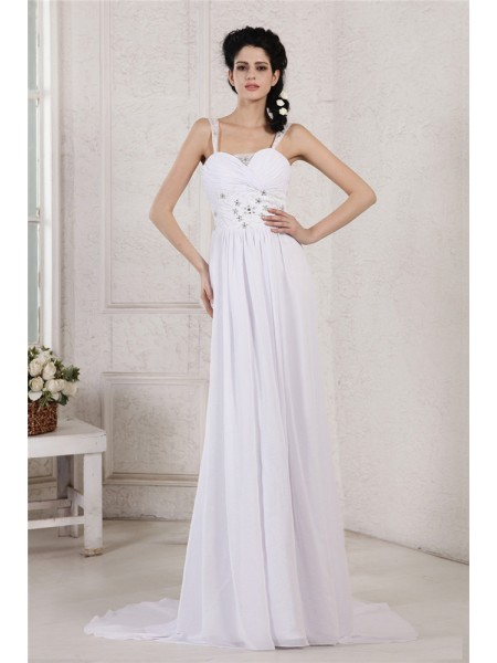 Fashion Sheath/Column Strap Pleats Spaghetti Ruched Beading Applique Long Chiffon